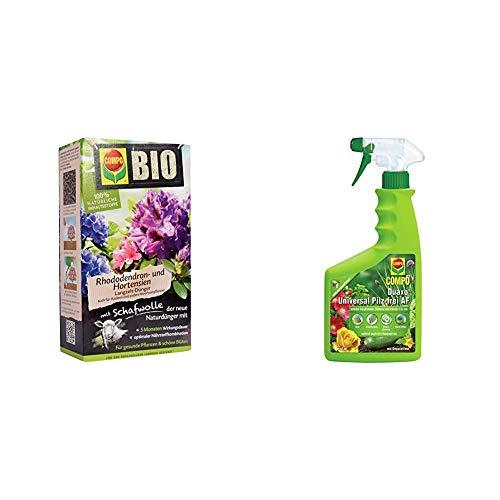 COMPO Bio Rhododendron Langzeit-Dünger für Rhododendren und andere Morbeetpflanzen, 5 Monate Wirkung, 2 kg & Duaxo Universal Pilz-frei AF, Bekämpfung von Pilzkrankheiten, 750 ml