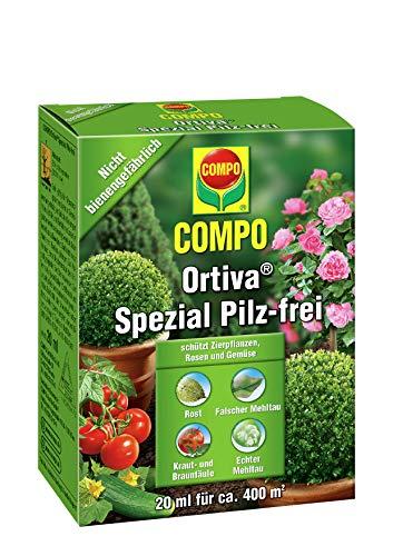 COMPO Ortiva Spezial Pilz-frei, Bekämpfung von Pilzkrankheiten an Zierpflanzen, Rosen und Gemüse, Konzentrat inkl. Messbecher, 20 ml