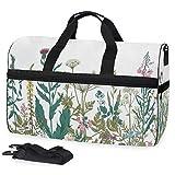 Blumen Blätter im Frühling Garten mit Gänseblümchen Rosen Hortensien Große Reisetasche Reisetasche Wochenende Übernachtung Reisetasche Gym Bag Fitness Sporttasche mit Schuhfach